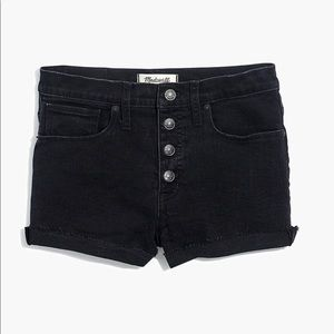 Madewell Black Denim Shorts Raw Hem